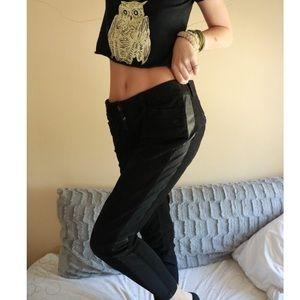LOFT Ann Taylor Black Pleather Strip Skinny Jeans